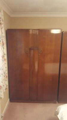 F.w. Distinctive Furniture Large Double Wardrobe Vintage 1950S Art Deco