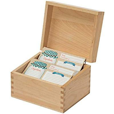 Recipe Holders Box Card Set With 8 4x6 Cards, Beechwood And Holder, Made Thick