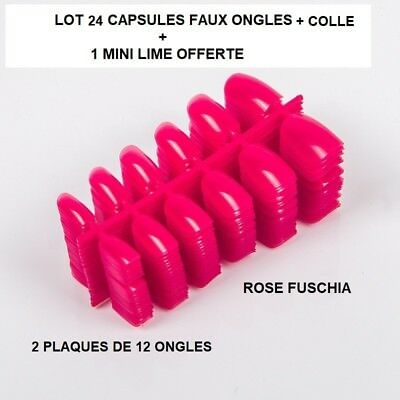 Lot 24 Capsules Tips Faux Ongle Rose Fuschia Gel Uv Vernis Colle Lime Ong404