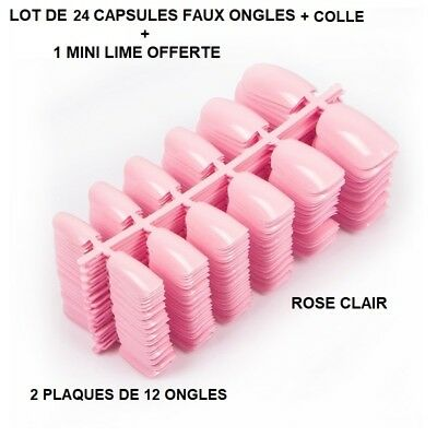 Lot 24 Capsules Tips Faux Ongle Rose Clair Gel Uv Vernis Colle Lime Ong405