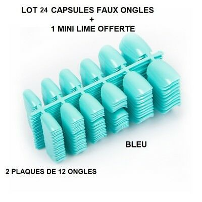 Lot 24 Capsules Tips Faux Ongle Bleu Gel Uv Vernis Colle Lime French Ong406