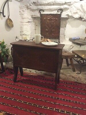 Small Carved Oak Plank Chest Coffer Children's Coffer Bach Coffee Table