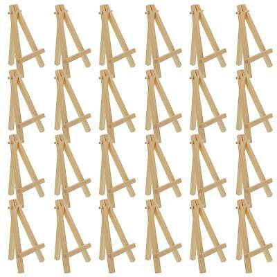 "24 Pack of Mini Wood 5"" Tabletop Art Craft Display Easels NATURAL Wooden Finish"