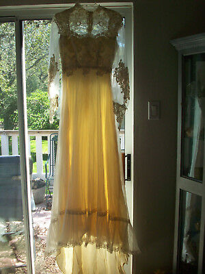 Handmade Beaded & Net Wedding Dress, Perfect for Halloween Fancy Dress XS/S