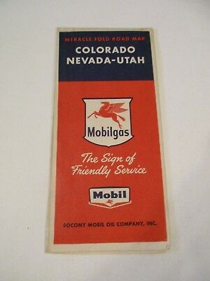Vintage Mobilgas Colorado Nevada Utah Oil Gas Station Road Map~1956 Estimate