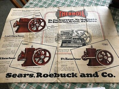 Sears Roebuck thermoil hit miss engine poster advertising