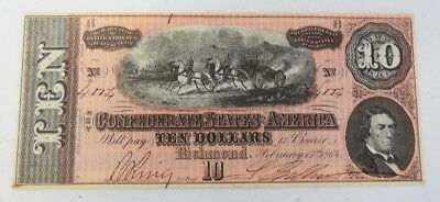 1864 Richmond The Confederate States of America $10 Bond Paper Money T-68