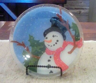 "Peggy Karr Glass Happy Snowman 8"" plate, signed w/ box."