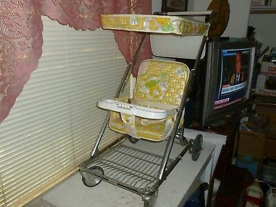 Vintage: 1960's BABY STROLLER w/Top, Reclines and Folds/Picked in Exc. Condition