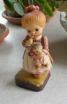 """ANRI Sarah Kay """"I'll Never Tell""""  Figurine Wood Carved Carving - 4"""""""