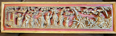 Antique Chinese Wood Carving Qing Ming Dynasty With Framed