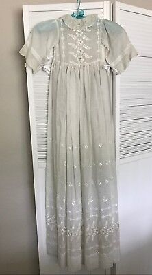 Antique Vintage Baby Christening Gown Lace and Embroidery, Handmade!