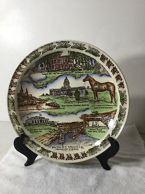 State of Kentucky Collector Plate Vernon Kilns USA Blue Grass State 10 1/4""