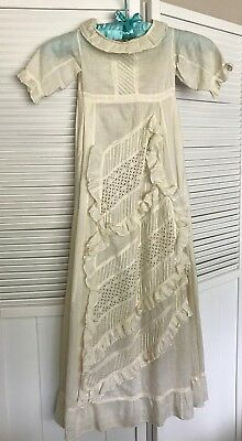 Antique Vintage Baby Christening Gown with Ruffles and Eyelet, Handmade!