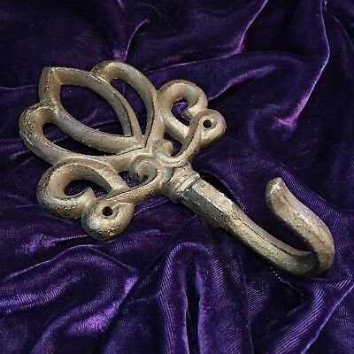 Vintage Heavy Black Iron Scroll Hook or Possible Paperweight EXCELLENT