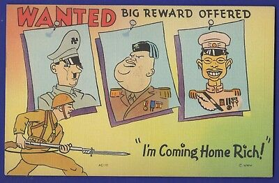 Wanted Big Reward Offered Hitler Mussolini Tojo I'm Coming Home Rich Linen Card