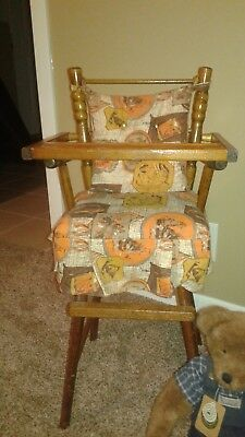 Vintage CASS TOYS Wooden Doll High Chair Antique Toy Old Dolly Girl MADE IN USA