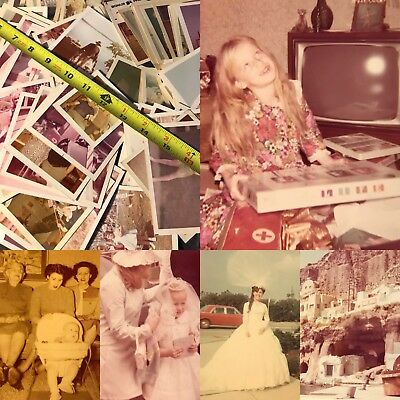 #9 100 VTG SNAPSHOTS Photos OLD Color PHOTOGRAPHS 1950-70s Lot WHITE BORDERS