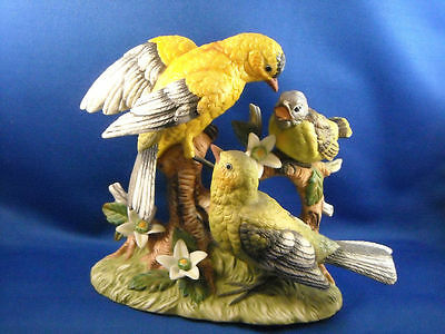 Yellow And Green Bird Family On Tree Branch Figurine  Crown Fbia