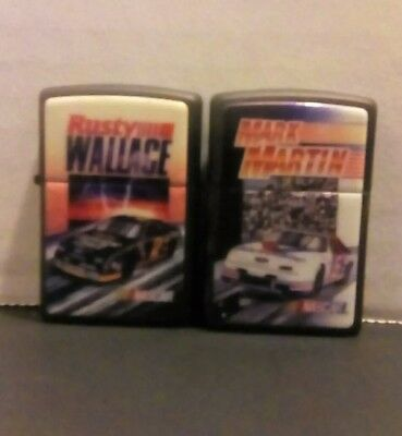 RUSTY WALLACE & MARK MARTIN NASCAR Zippo Lighters Brand New Without Box