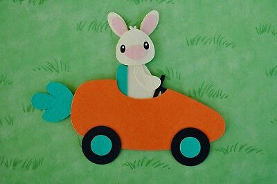 Fully assembled BUNNY DRIVING CARROT CAR die cut / paper piecing