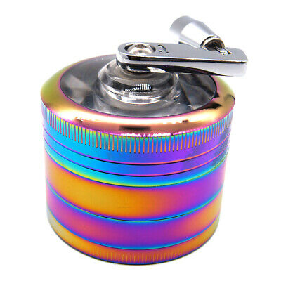 "2"" Tobacco Herb Spice Grinder Herbal Alloy Smoke Metal Chromium Crusher Rainbow"