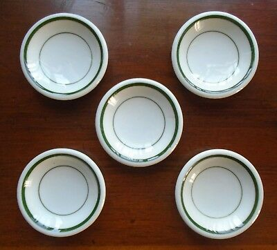VINTAGE IRONSTONE RESTAURANT WARE WHITE & GREEN DOUBLE BAND BUTTER PATS Set of 5