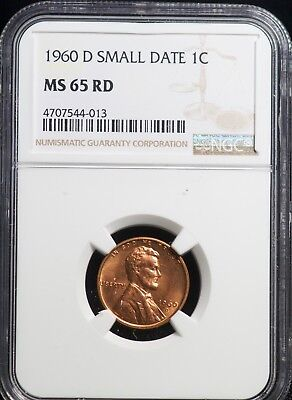 1960 D SMALL DATE NGC MS 65 RD Lincoln Memorial One Cent 1C Coin | 2