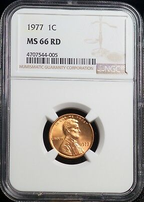 1977 NGC MS 66 RD Lincoln Memorial One Cent 1C Coin