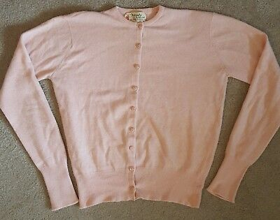 Vtg. PRINGLE OF SCOTLAND Pure Cashmere Pink Women's Cardigan Sweater Size Small