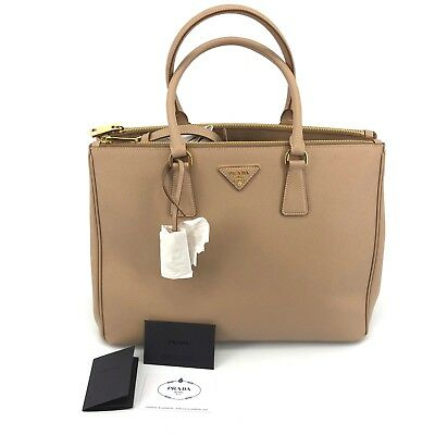2d5d1dea8de96b Authentic Prada Saffiano Medium Double Zip Tote Brown Leather Shoulder Bag  NWT