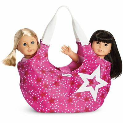 "# AMERICAN GIRL 18"" CARRY BAG Shoulder Two Tote Berry Stars for Dolls - NEW NIB"