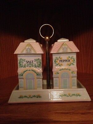 Lenox Village Salt and Pepper Shakers with Stand, Fine Porcelain, 1991