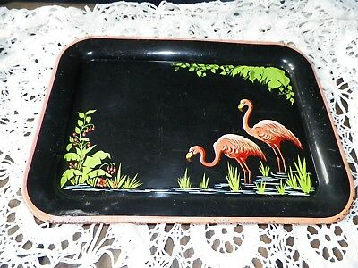 Vintage 1950's Glamper Flamingo Metal Serving Tray 12.5 x 17.5