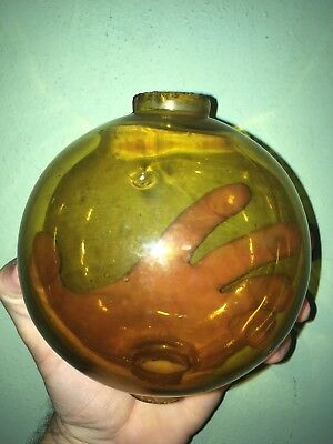 "Vtg Amber Topaz Yellow Glass Lightning Rod Ball Globe Large 4 1/2"" Weather Vane"