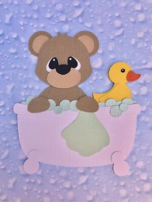Bear in bath with rubber duck fully assembled paper piecing / die cut