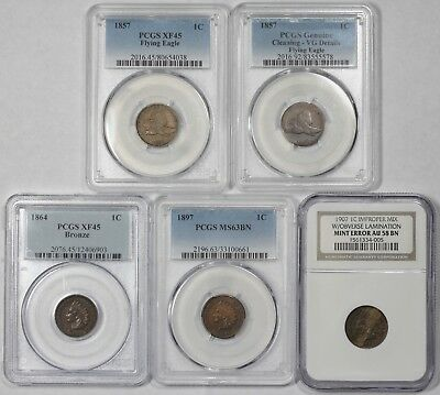 Lot of 5 PCGS/NGC Flying Eagle & Indian Cents, 1857, 1864, 1897, 1907, VG-MS63BN