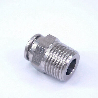 "Pneumatic Straight Tube OD 12mm*1/2""BSP 304 Stainless Steel Male Push in Fitting"