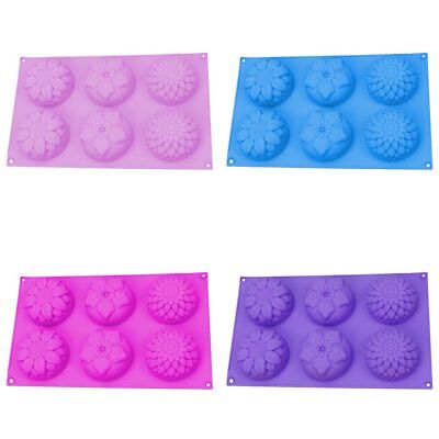 6 Cavity Flower Shaped Silicone DIY Handmade Soap Candle Cake Mold Supply TU
