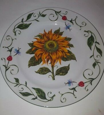 BOTANICAL GARDENS Sunflower Dinner Plate Tabletop Unlimited lady bugs butterfy
