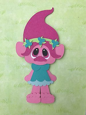 Handmade fully assembled Poppy inspired, troll die cut / paper piecing