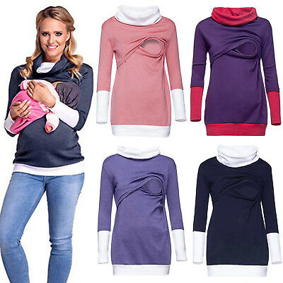 Women Pregnant Maternity Clothes Nursing Tops Breastfeeding T-Shirt Blouse S-3XL