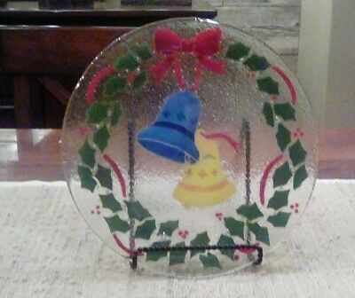 Peggy Karr Glass Christmas Wreath and Bells plate, signed, 11""