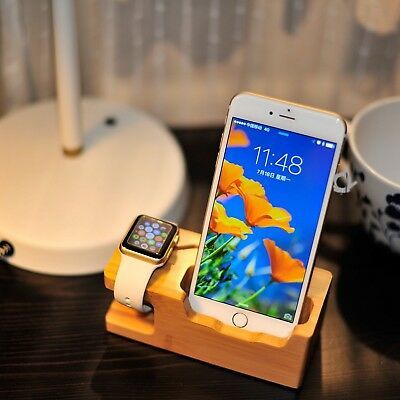 3A Wooden Charging Dock Station Stand Holder USB Port For iPhone Apple Watch