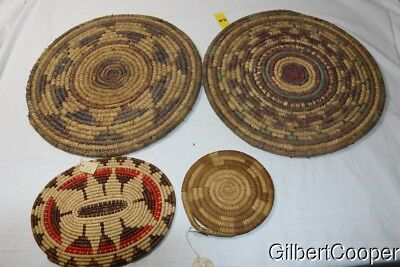 Group Of 4 Indian Coiled Mats/trays