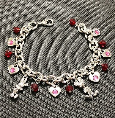 Disney Park Mickey & Minnie Mouse Girls Lady's Bracelet with 15 Small Charms New