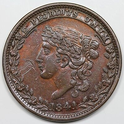 1837, 1841 Hard Times Token, Specie Payments Suspended, XF detail