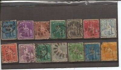 BARBADOS - Selection of very old used STAMPS