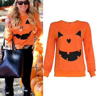 Womens Long Sleeve Halloween Pumpkin Print Tunic Top T-shirt Sweater Pullover