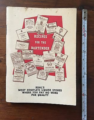 """Vintage Recipes For The Bartender """"21"""" Brands Inc. New York City Mini Book"""
